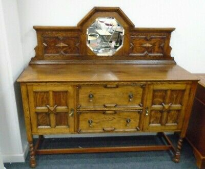 ANTIQUE GOTHIC Style Solid Oak Mirror Back Carved Sideboard Buffet  - C91