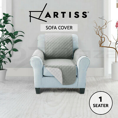 Artiss Sofa Cover Quilted Couch Covers Lounge Protector Slipcovers 1 Seater Grey