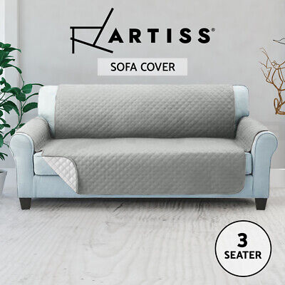 Artiss Sofa Cover Quilted Couch Covers Lounge Protector Slipcovers 3 Seater Grey