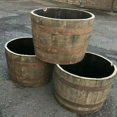 Half Solid oak Whisky barrel planter garden Patio lawn tub flower pot,