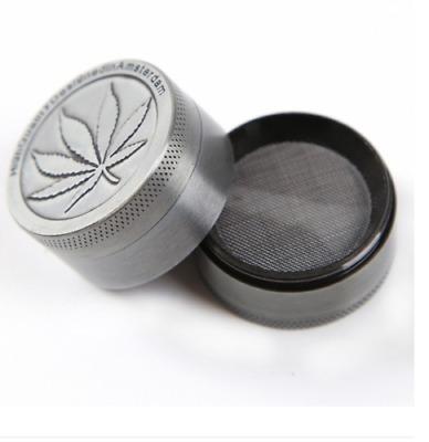 Herb Grinder with Scraper Tool 4 Layer 40mm Zinc Alloy Metal Leaf SAME DAY SHIP!