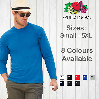 Fruit Of The Loom Mens Long Sleeve T-Shirt Plain Cotton Tee Top Valueweight New