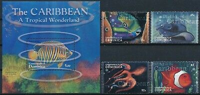 [H16780] Dominica 2001 FISHS Fauna Good lot set of stamps + sheet very fine MNH