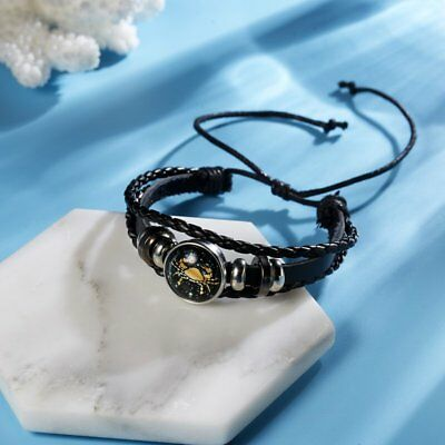 12 Constellation Cancer Bracelets Men Leather Bracelet Women Girls Jewelry Gifts