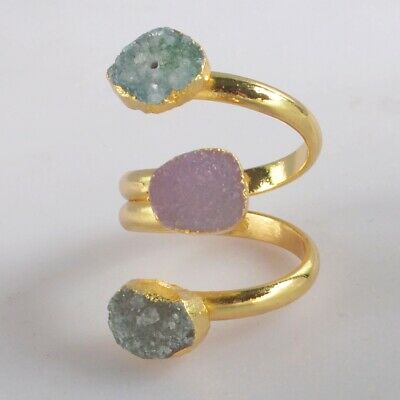 Size 5.5 Pink & Green Agate Druzy Geode Adjustable Ring Gold Plated H130858