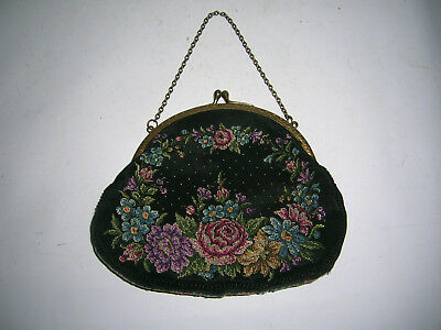 1935 Art Deco Handtasche Gobelinstickerei petit point