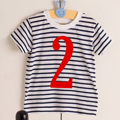 Kids Number T-shirt Striped Navy White Year Age Cute Top Boys Girls Baby Toddler