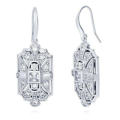 Vintage 925 Silver Plated Cubic Zirconia CZ Art Deco Fish Hook Dangle Earrings