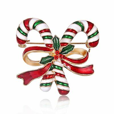 Fashion Christmas Xmas Double Crutches Brooch Pin Women Costume Jewelry Gifts