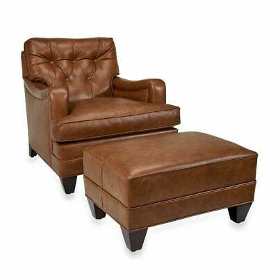 Levenger Leather Club Chair And Ottoman- Penny Lane