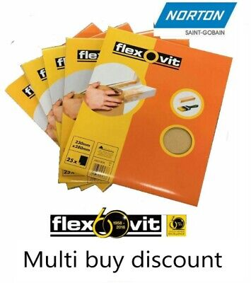 Flexovit By Norton Glass paper Sanding Sheets 230 x 280mm various grits