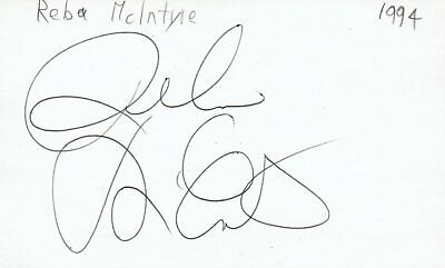 Reba McEntire Actress Country Singer Music Autographed Signed Index Card JSA COA