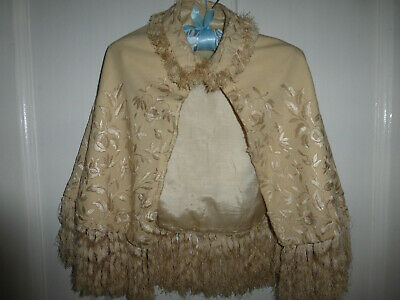 Child's or Antique Dolls embroidered silk cape, Victorian