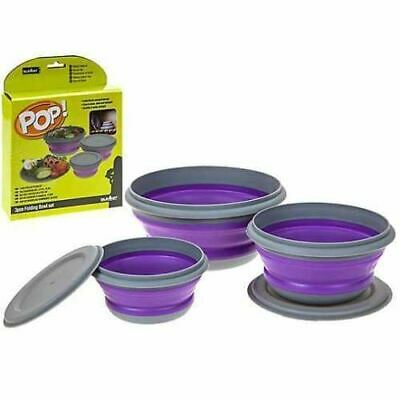 Summit Pop 3 Piece Bowl Set Purple and Grey Collapsible Travel Storage Camping