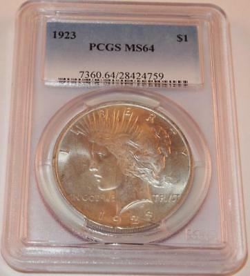 Graded PCGS MS64 1923 PEACE .900 Silver Dollar one 1 Dollar SLABBED COIN