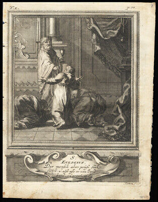 St Eulogius of Cordoba 1725 German Engraving of The Solitary or Hermit Saints
