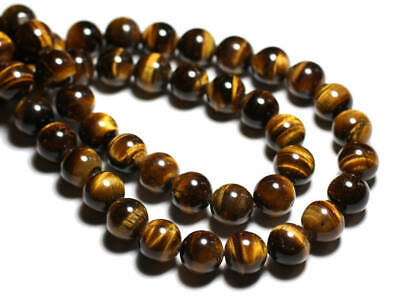lot de 24 perles oeil de tigre 8 mm gemme naturel