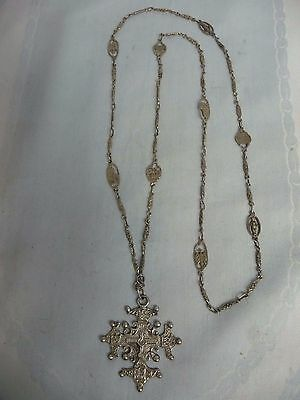 800 SILVER VICTORIAN ERA ITALIAN CROSS w/BEAUTIFUL ORNATE LONG CHAIN
