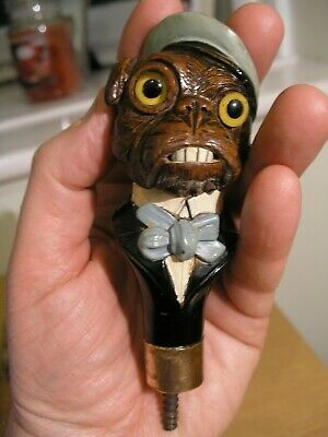 Antique Carved Bulldog Walking Stick Handle With Glass Eyes