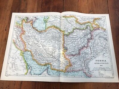1900s double page map from g.w. bacon - persia - afghanistan
