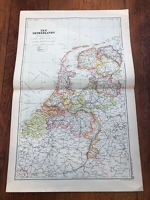 1900s double page map from g.w. bacon - the netherlands