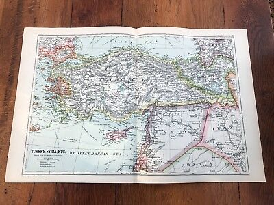 1900s double page map from g.w. bacon - turkey - syria