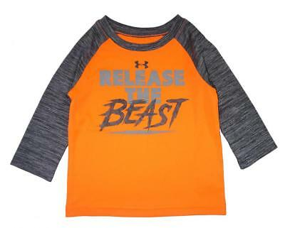 Under Armour Infant Boys Orange & Gray Release The Beast Dry Fit Top Size 24M