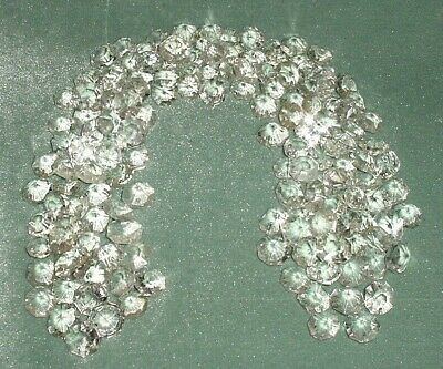 Old Lot 158 Pcs Large Crystal Cut Drops Octagonal Buttons Chandelier Spare Parts