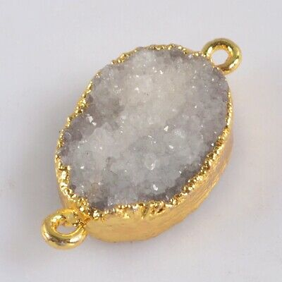 Natural Agate Druzy Geode Connector Gold Plated H130693