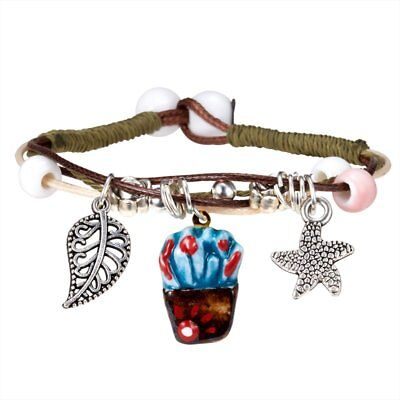 Fashion Cute Plant Cactus Handmade Brided Beads Unisex Men Women Bracelet Gifts
