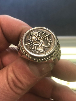 Massive Roman Mercury Caduceus Coin Style Ring Solid Sterling Silver 925