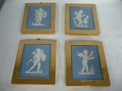 Vintage Blue Jasperware Wedgwood, Four Seasons Featuring Adorable Cherubs