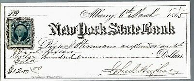 Bank Check $1,200.00 New York State Bank 3-5-1865- R5-Uncancelled Mint
