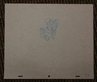 Minnie Mouse Baby LUVS Diaper Commercial Original Production Drawing Disney Blue