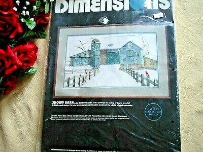 """Dimensions Crewel Embroidery Kit  Snowy Barn Mildred Sands Kratz 20 x 12"""" Open"""