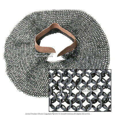 Medieval Chainmail Aventail 18G Steel Round Riveted Leather Collar Neck Armor