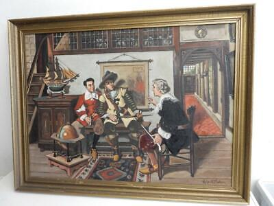 vintage old PAINTING oil Early HOME signed ROLAND MADSEN