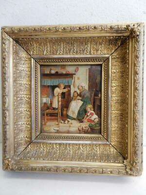 antique really old PAINTING oil wood panel HOME SCENE