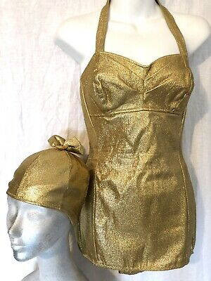 Vintage 50s Bombshell Gold Metallic Lame' Swimsuit Matching Swim Cap VLV