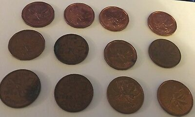 Canadian Penny  1 Cent Lot of 12 Assorted Years 1948 63 66 72 82 83 85 Nice Lot