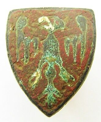 13th - 14th century Medieval Knights Enamelled Heraldic Stud Intact Excavated