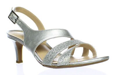 29b2389ed0c NATURALIZER WOMENS PRESSLEY Silver Ankle Strap Heels Size 6 (60871 ...