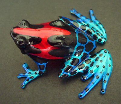Glass FROG Toad Painted Shiny Red Blue Black Glass Figure Ornament Glass Animal