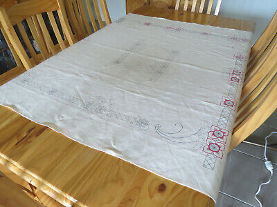 Vintage Hobbytex Linen Table Cloth - Partly Started - Art Deco Style Pattern