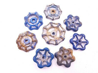 8 pcs Blue Vintage Industrial Metal Outdoor Faucet Bib Handle Knob Steampunk Art