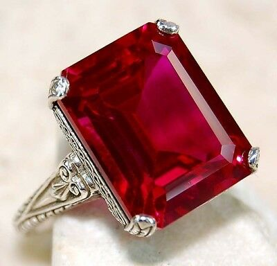 12CT Ruby 925 Solid Sterling Silver Art Deco Filigree Ring Jewelry Sz 9