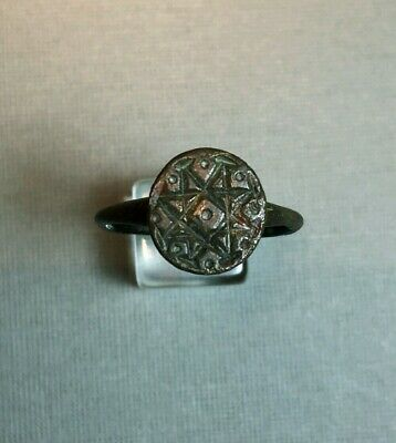 ANCIENT BRONZE RING STAR DESIGN 9th - 11th CENTURY AD
