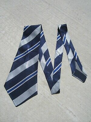 ORIGINAL 30S 40s  RODNEY  DEADSTOCK VINTAGE TIE METALLIC BLOCK STRIPE ART DECO