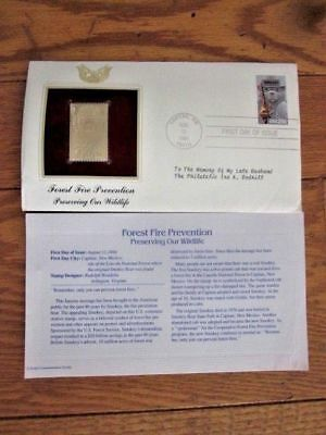 Smokey The Bear Forest Fire Prevention  22Kt Gold Cachet 1984  Fdc + Info Card