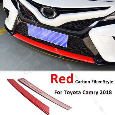 Carbon Fiber Car Front Grille Grid Cover Trim Strip For TOYOTA Camry 2018 2019